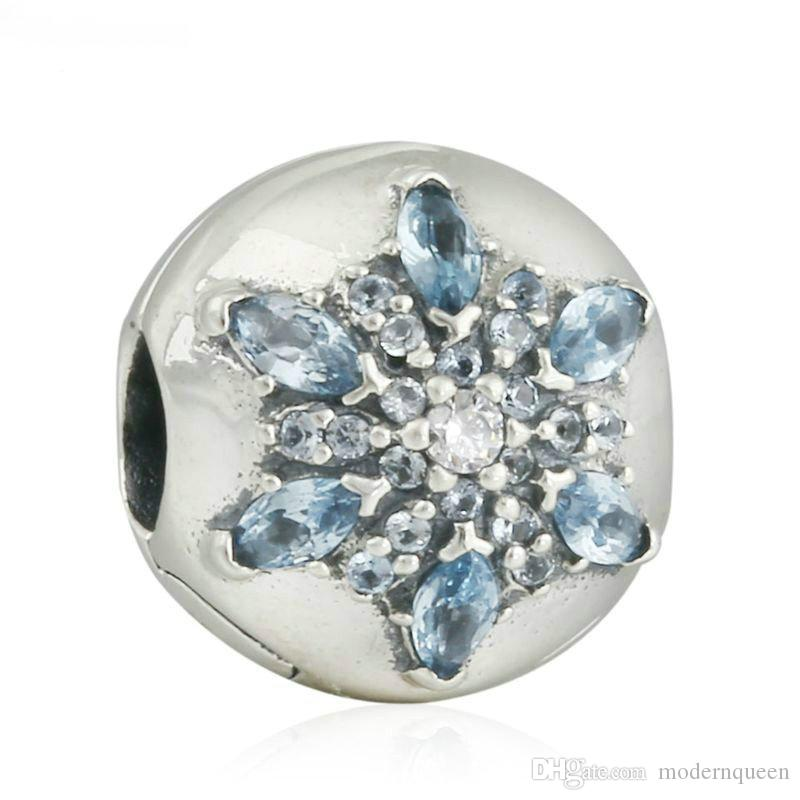 d374b4eee Snowflake Clip Beads Authentic S925 Sterling Silver Beads Fits Pandora  Jewelry Bracelets AleCH621 Charms Pandora Bracelets Clips Snowflake Clip  Beads ...