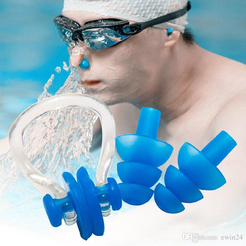 X Waterproof Soft Silicone Swimming Set Nose Clip With Ear Plug Earplug With Box Asssorted Colours