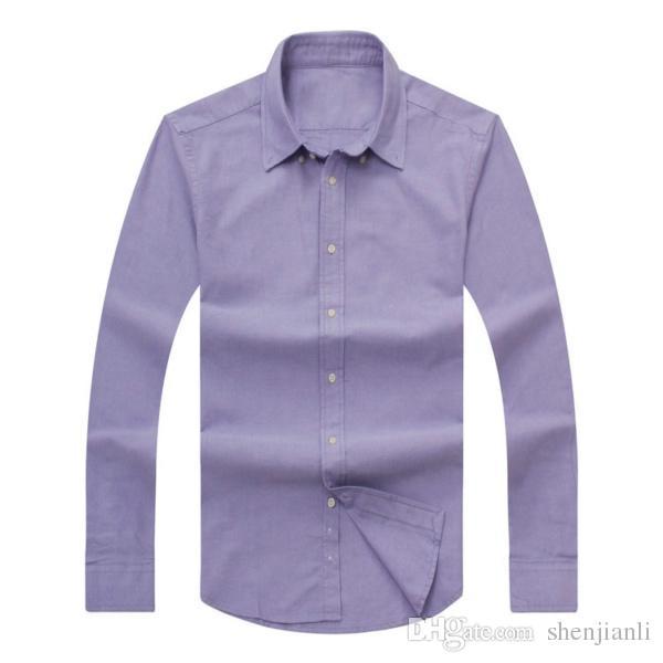 2017 новый осень и зима мужская с длинными рукавами хлопок рубашка чистая мужская повседневная POLOshirt мода Оксфорд рубашка социальный бренд clothing lar