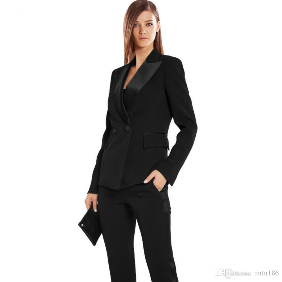 2017 Black Autumn Bussiness Formal Elegant Women Suit Set Blazers ...
