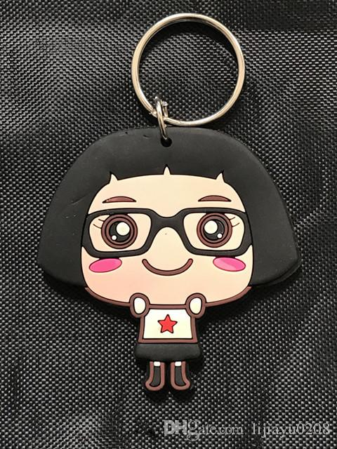 Cute Japanese Girl Hello Cai Cai Cartoon rubber two-side Keychain Keyring Gift Men Women Souvenirs Bag Pendant Car Key
