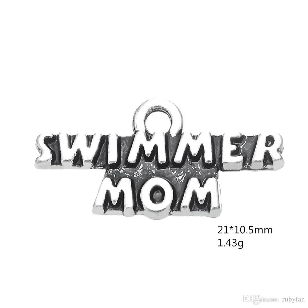 Prata Lettering Swimmer Mom Dangle Charme Esporte Dangle Jóias DIY Acessórios Para PulseiraColares de Pingente