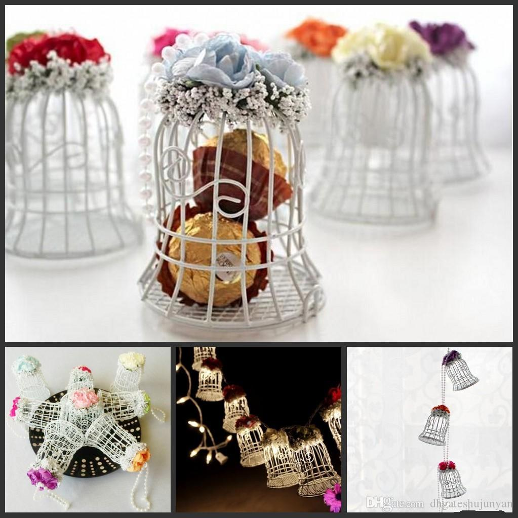 New Wedding Favor Boxes White Metal Bell Birdcage Shaped With Flower ...