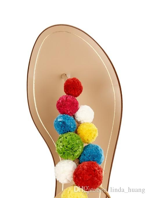 2017 Cute Furry Colorful Ball Women Sandals Flat Heel Buckle Strap Flip Flops Beach Gladiator Sandal Summer Shoes Woman For Holiday