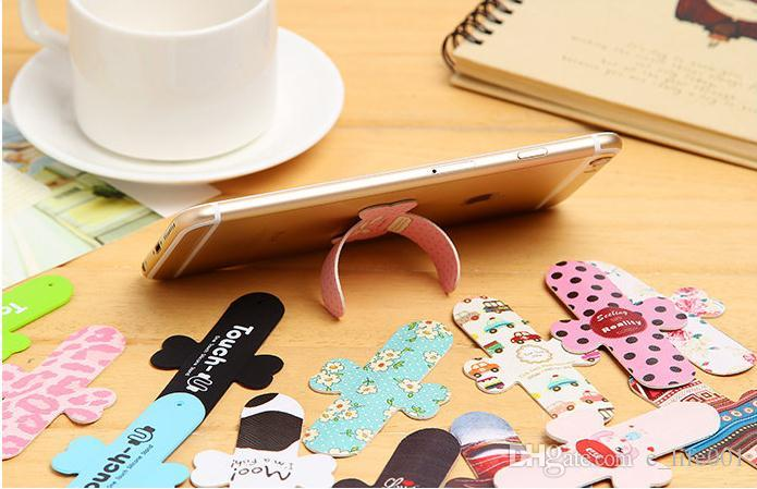 Universal Cute flower Colorful skin PU leather Finger Touch sticker stand Holder For Iphone Samsung cell mobile phone