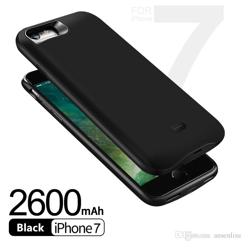 Black color 2600mAh External backup fast charging mobile power bank case portable battery charger case for iPhone 8 7 iphone 6 6s