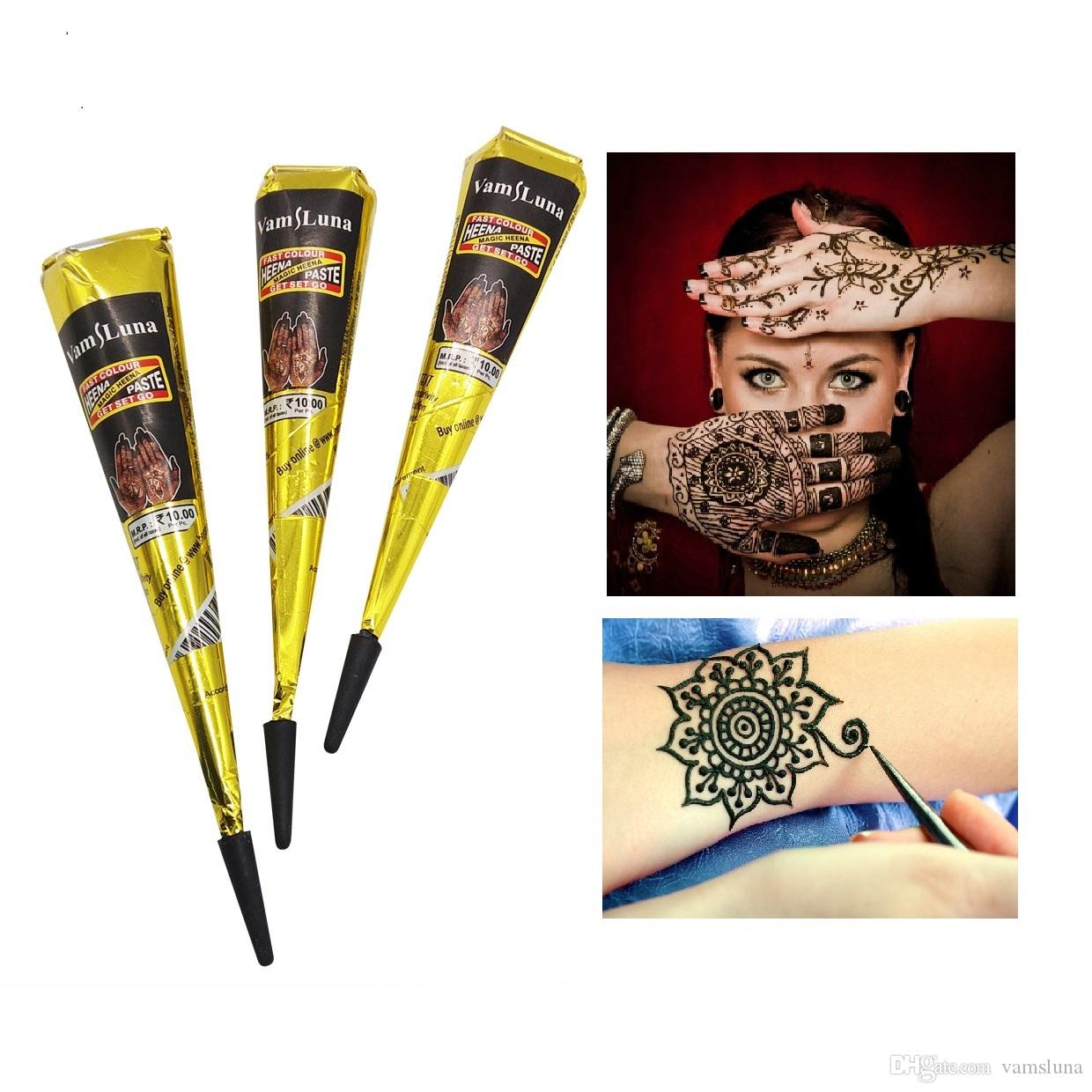 Tattoos Henna For Body: 3X Black Natural Indian Henna Tattoo Paste For Body