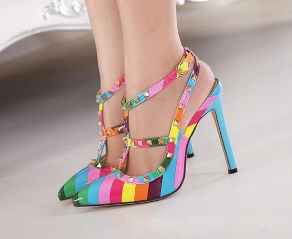 Hot Sale Women Rainbow High Heels Shoes Woman Ladies Sexy