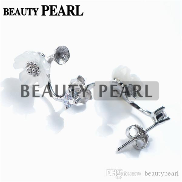 Earring Blank White Shell Flower Curved Earring Pearls Semi Mount 925 Sterling Silver Findings