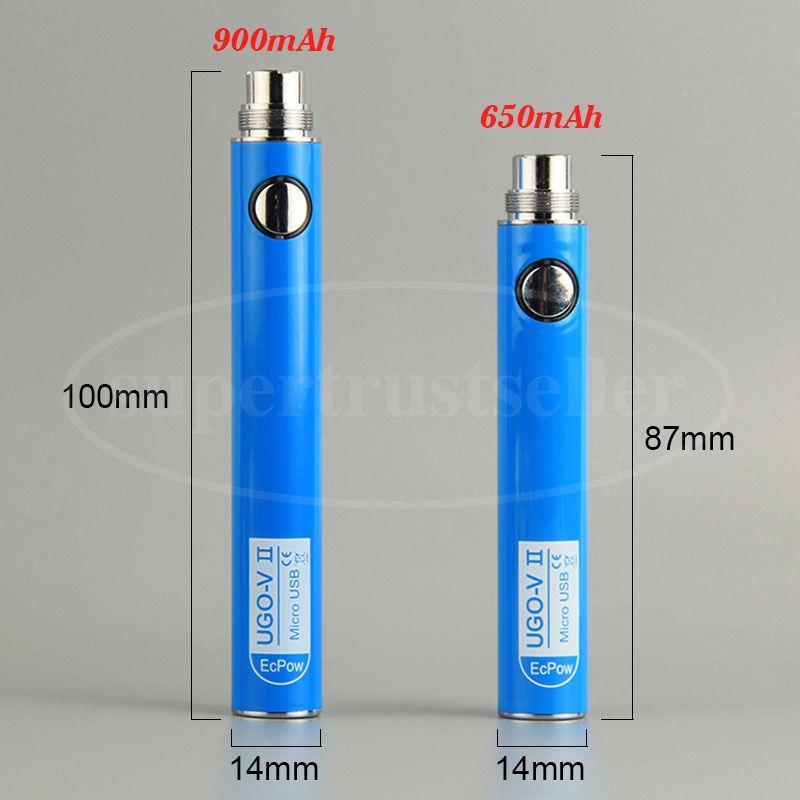 510 eGo Vaporizer Evod 650 900 mah Micro USB Pass UGO V II Elektronische Zigarette Vape-Akkus mit USB-Ladegerät