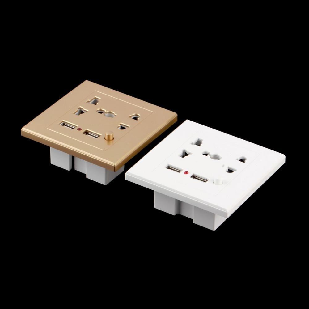 1 stück Dual ZWEI USB Elektrische FÜNF Wandladegerät Dock Station Steckdose Steckdose Panel Platte 110 V-250 V