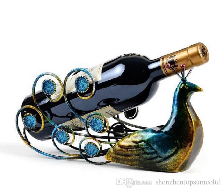 Cremalheiras quentes do vidro de vinho das cremalheiras do vinho da cremalheira do frasco dos suportes do vinho do pavão da venda