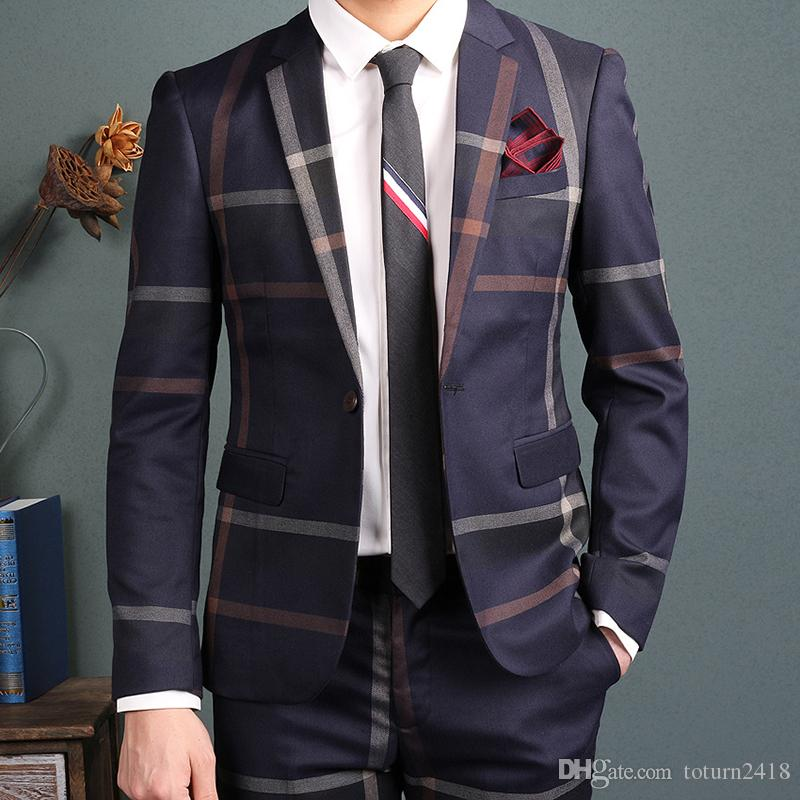 Mens Two Piece Plaid Suit Casual Slim Fit 1 Button Suit B0756FBN7P