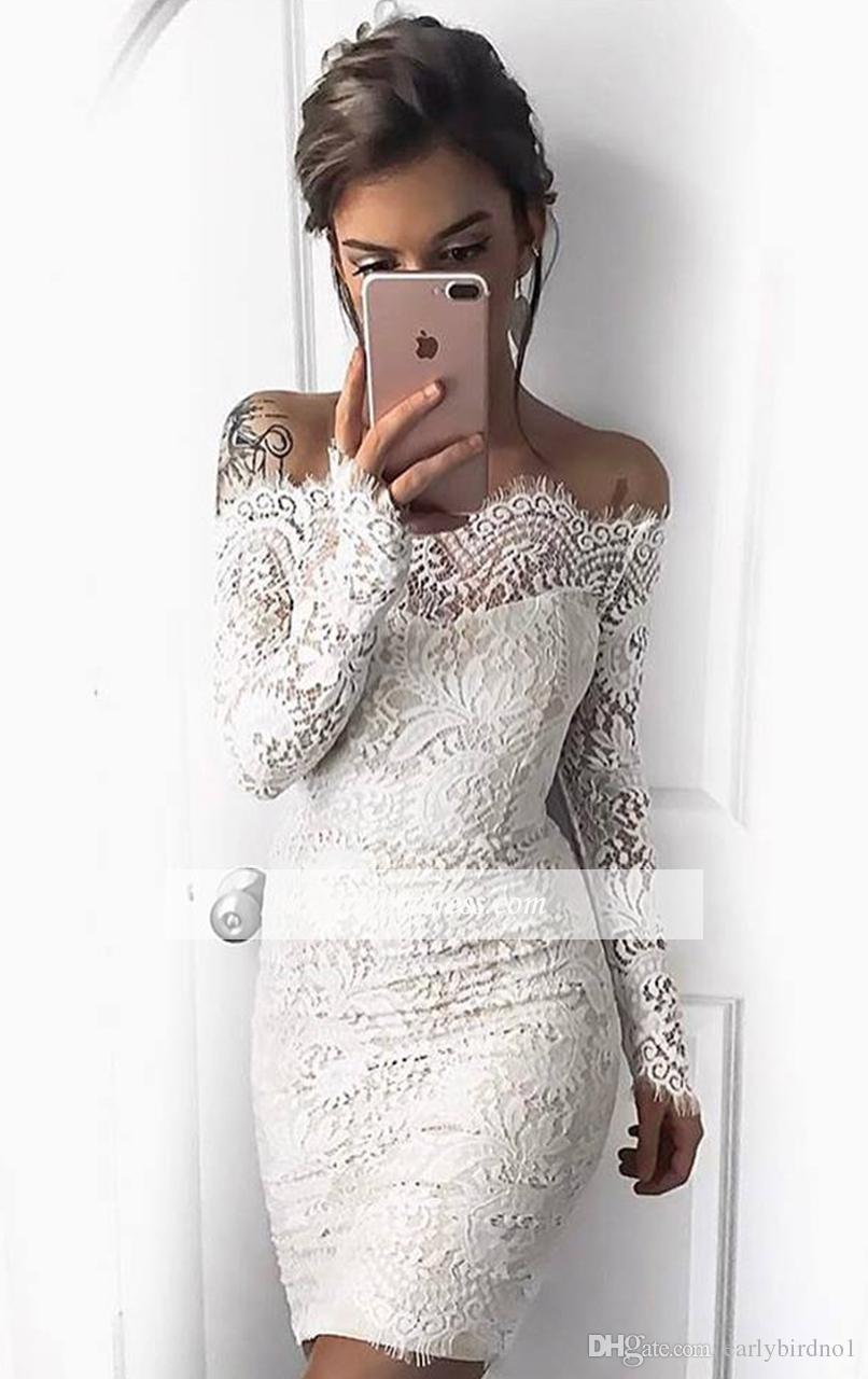 2017 어깨 전체 레이스 짧은 칵테일 드레스 긴 소매 미니 동창회 드레스 저렴한 소녀 파티 드레스 오프 새로운 우아한