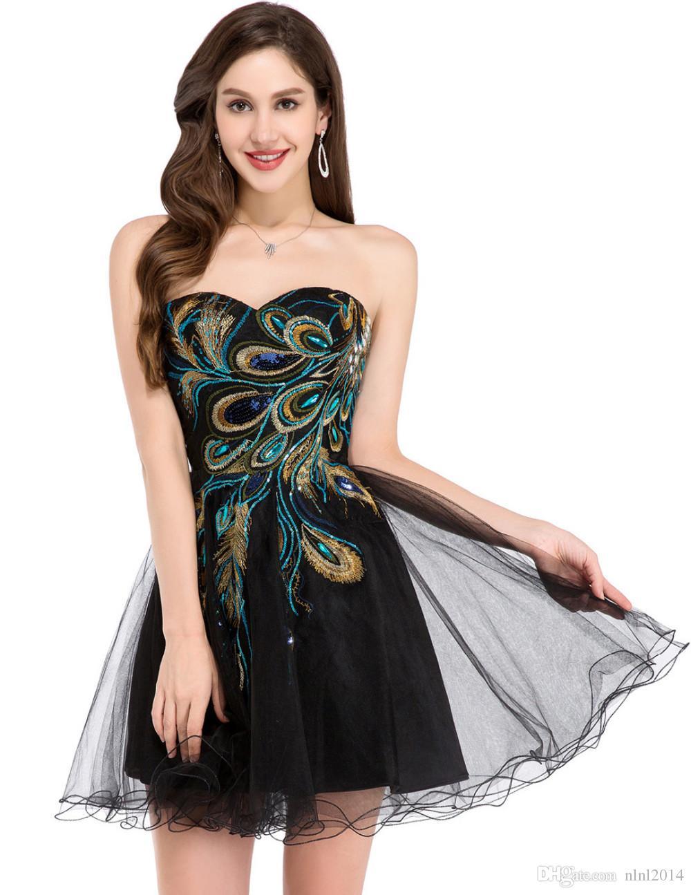 Großhandel Kurze Abendkleid 2017 Sexy Schwarz Weiß Pfau Abendkleider ...