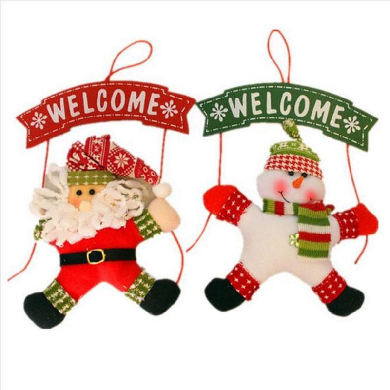Papai Noel Boneco De Neve Decorações De Natal Porta Da Árvore Decoração de Natal para Casa Ornamento Decor Pendurado Pingente de Natal