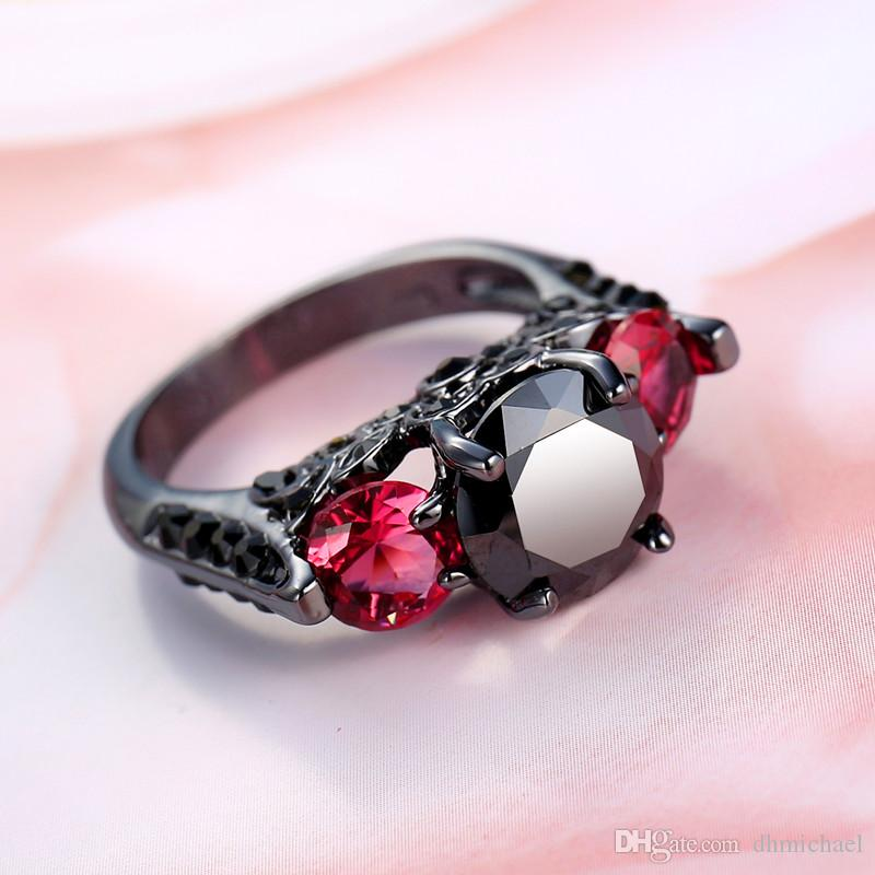 Fashion Zircon Diamonique Black Gold Filled Wedding Band Finger Ring Size6-10 Gift