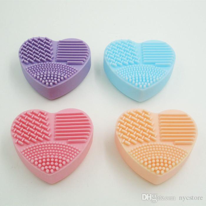 DHL Free Heart Forma Brushegg Limpieza Lavado Maquillaje Cepillo Silicona Brushegg Cosmética Fundación Powder Clean herramientas pro maquillaje