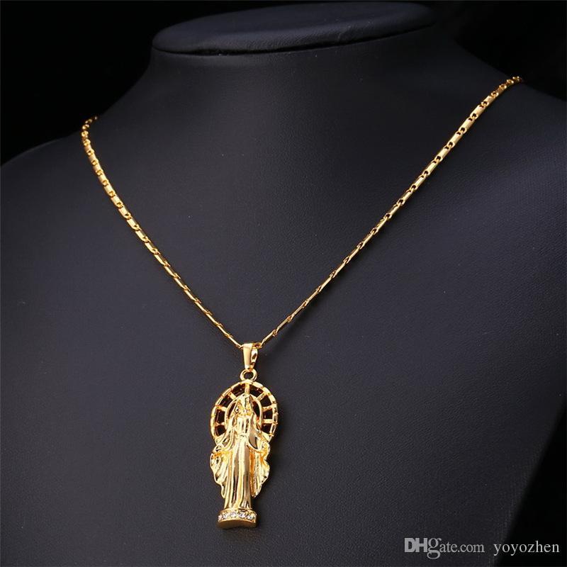 Kadınlar için Meryem Kolye Kolye / Erkekler Platin Kaplama / 18 K Gerçek Altın Kaplama İsa Adet Takı