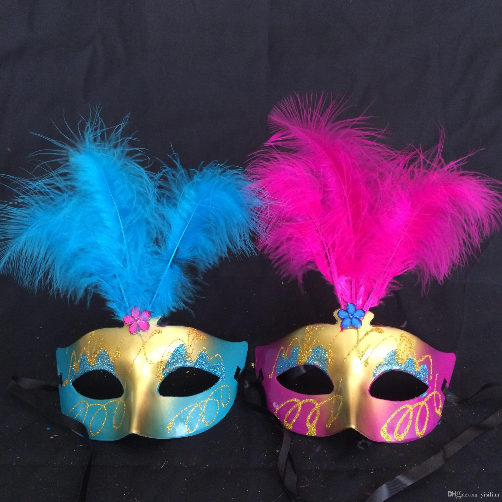 Halloween make - up party party princess feather mask half face mask feather painting PH004 as your needs