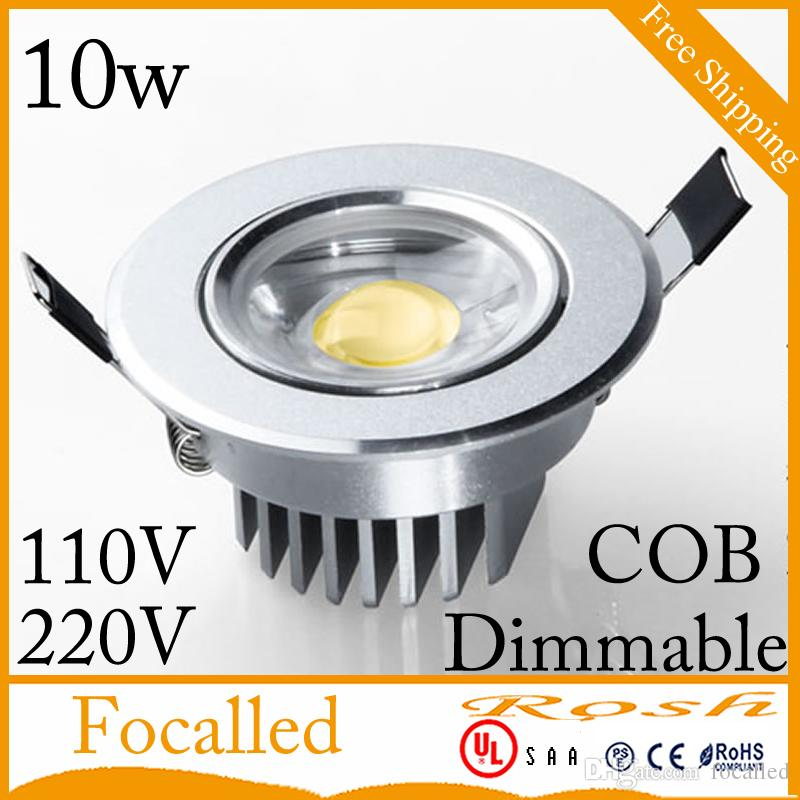 Silver shel dimmablel led downlight cob recessed ceiling lights 10w 900lm AC 90-260v Warm/Nature/Cool White +Drivers 60angle CE UL