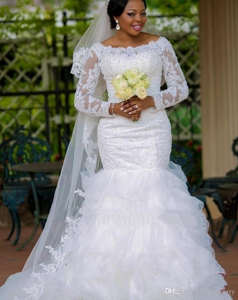 Ne185 african mermaid wedding dress with ruffles skirt for Plus size mermaid style wedding dresses