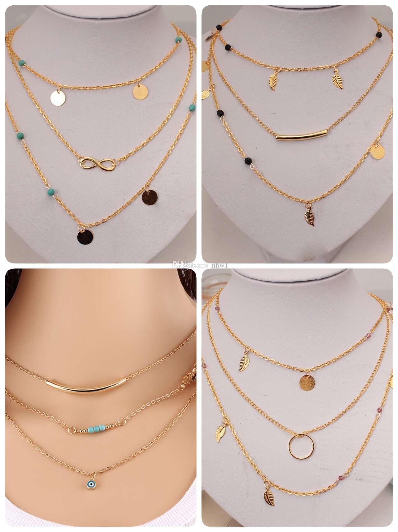 جديد متعدد الطبقات لون الذهب قلادة شرابة اللانهاية للنساء هيئة سلسلة مجوهرات البوهيمي الفيروز المختنق كولير كولير