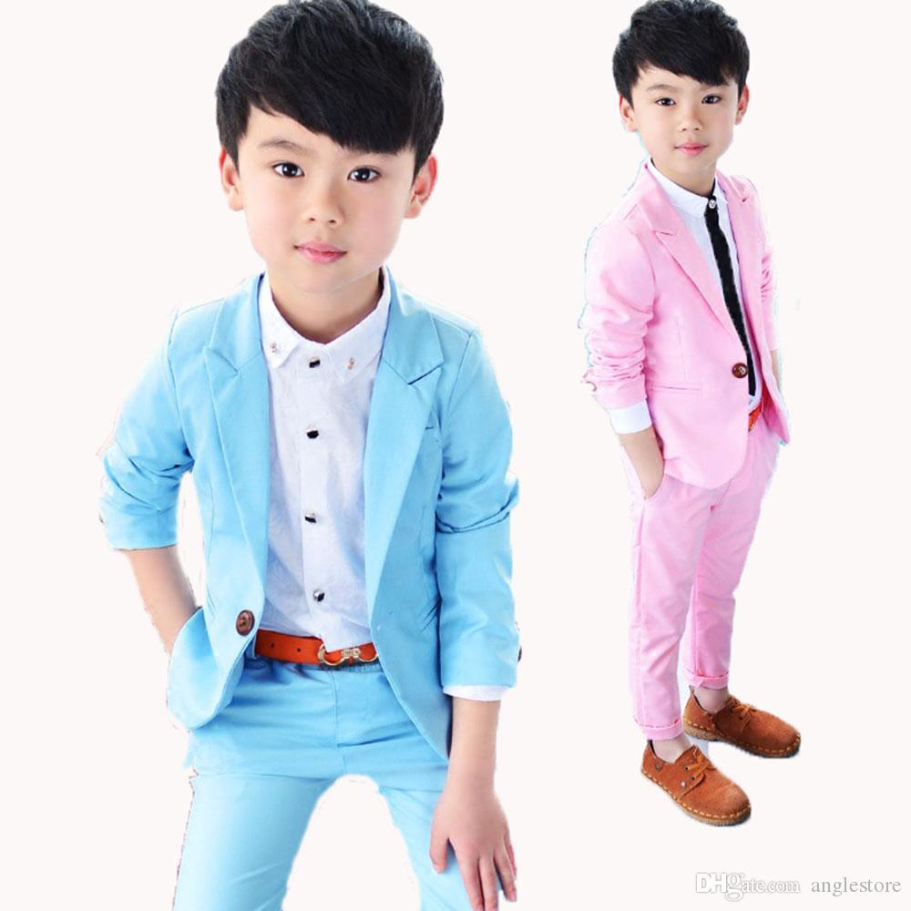 14d2bdcb3 Solid Pink blue Child Blazers Suit Fashion Casual Kid s Clothing Set ...