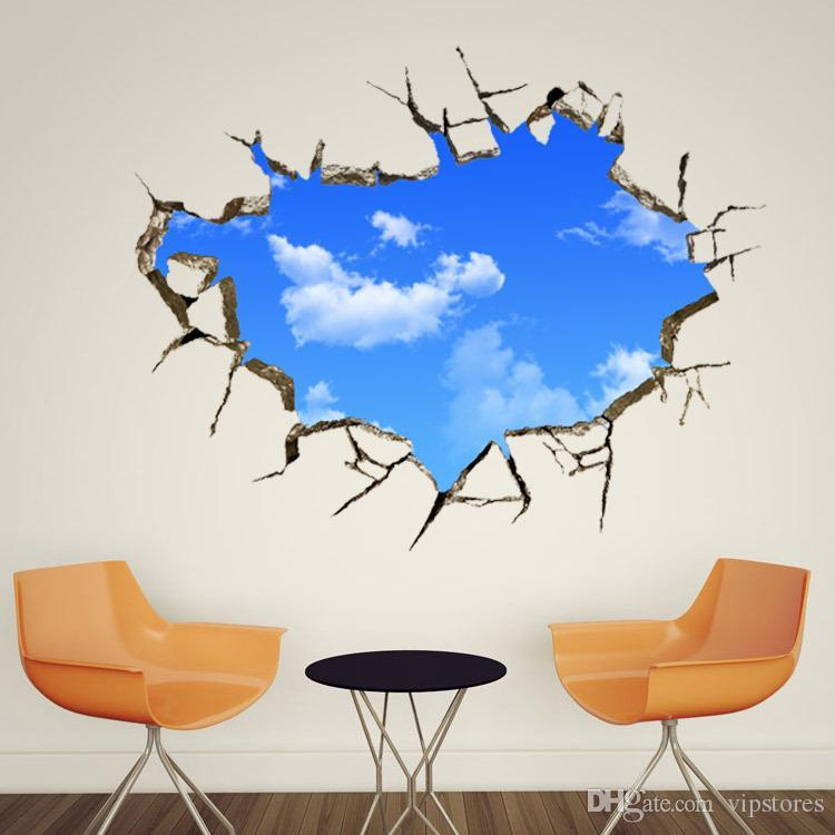 Creative 3D Wall Decals Blue Sky Write Cloud Wall Sticker Art Luminous  London Dream Wall Mural Wallpaper Window Hole Landscape Home Decor Creative  3D Wall ...