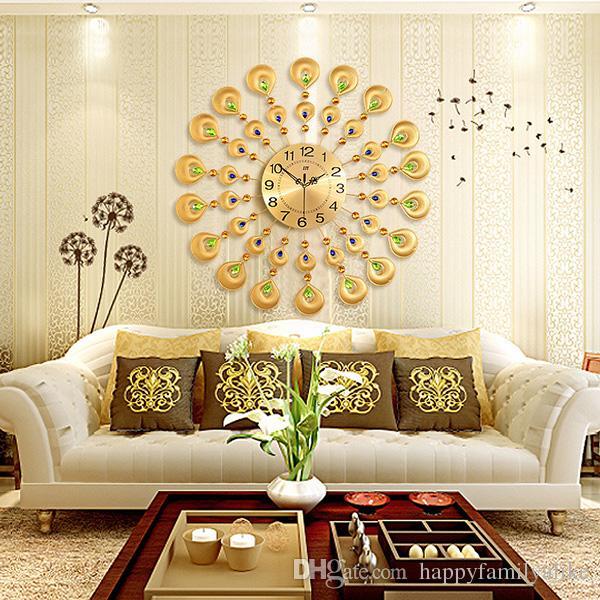 Modern Metal Wall Clock Crystal Gold Peacock Wall Clocks Creative ...