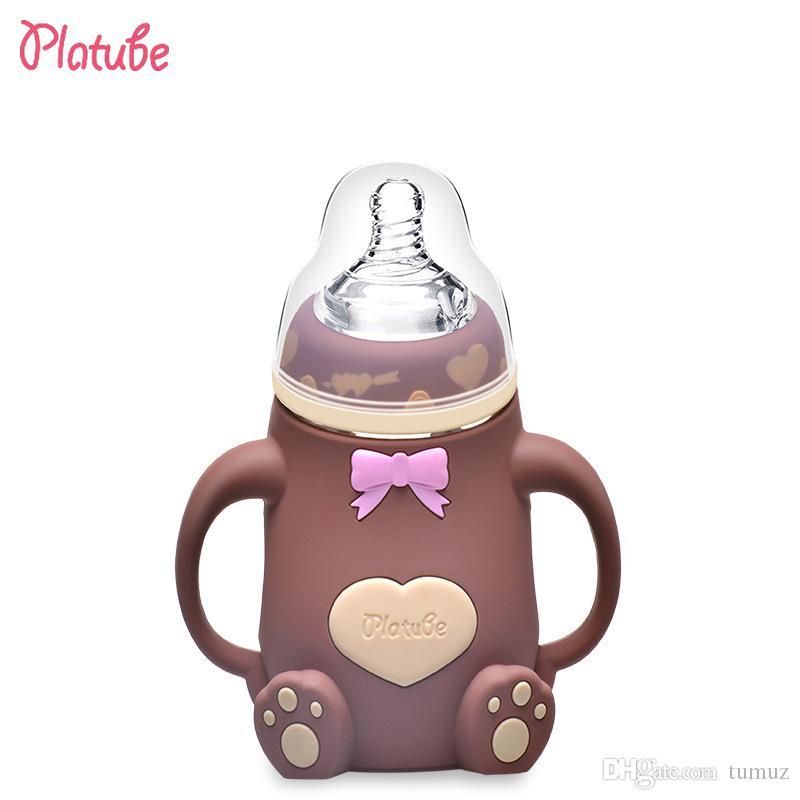 قارورة زجاجية من عيار واسع ، بها مجموعات من السيليكون ، وقطرات ، وزجاجة الطفل الأم والطفل توفر خمسة ألوان