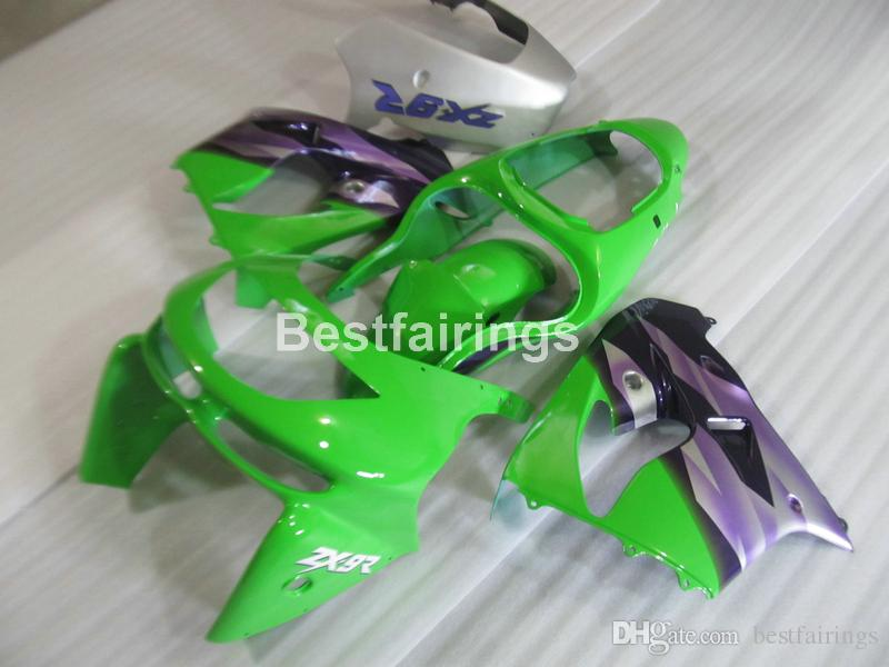 Ücretsiz 7 hediyeler Kawasaki Ninja ZX9R 98 için vücut parçaları kaporta kiti 99 yeşil mor fairings seti ZX9R 1998 1999 TY26