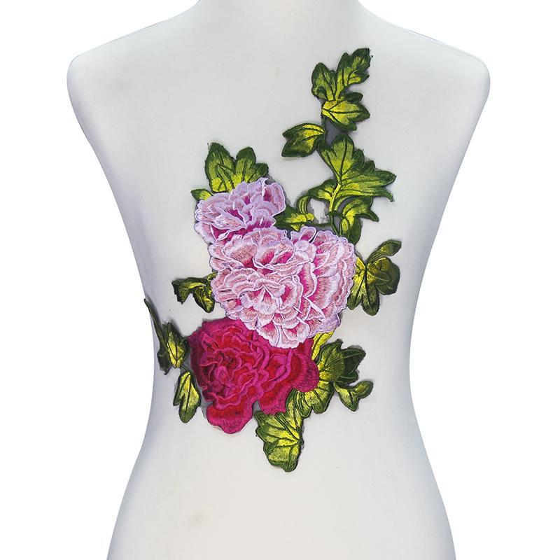 acheter 1 pi ce floral broderie applique appliqu s en toile de dentelle motif emboss couture. Black Bedroom Furniture Sets. Home Design Ideas