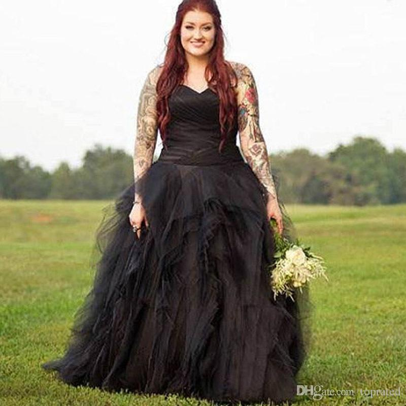 Discount Vintage Ball Gown Princess Sweetheart Pleat Ruched Plus Size  Wedding Dresses Long Black Gothic Country Bridal Wedding Gowns Robe De  Mariage Beach ... 645e1b329866