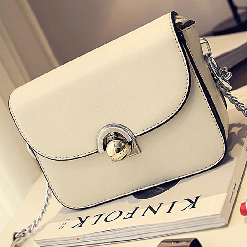 4d2f267894eb Handbags New Chain Solid Bags PU Leather Female Package Messenger ...