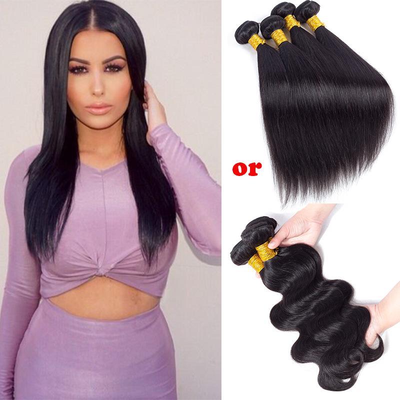 Hot Brazilian Virgin Hair Body Wave Straight Peruvian Indian Remy Human Hair Weave Bundles Daily Deals 8a Unprocessed Cheap Hair Extensions