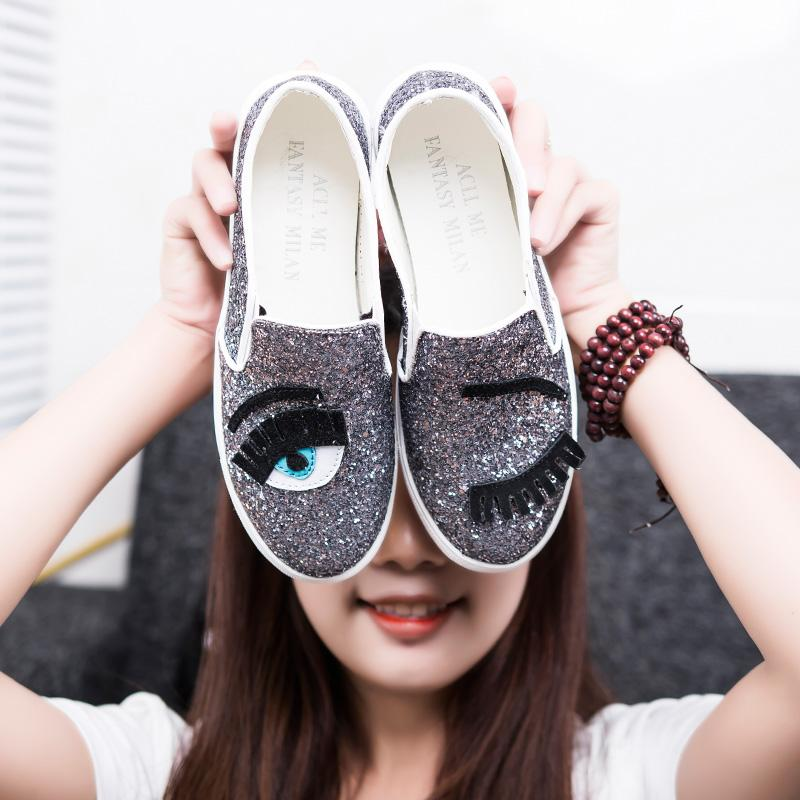 61b10d340aa1 Wholesale 2016 Chiara Ferragni Flats Round Toe Zapatos Mujer Glitter  Eyelash Flat Espadrilles Blink Eye Flat Shoes Womens Lazy Loafers Purple  Shoes Scholl ...
