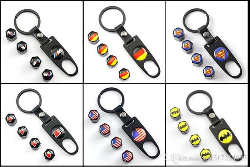 Car accessories New Hot Sale Car Wheel Tire Valve Caps with Mini Wrench & Keychain logo German flag for AudiA4L A6L Q5 A1 A3 A5 4-Piece