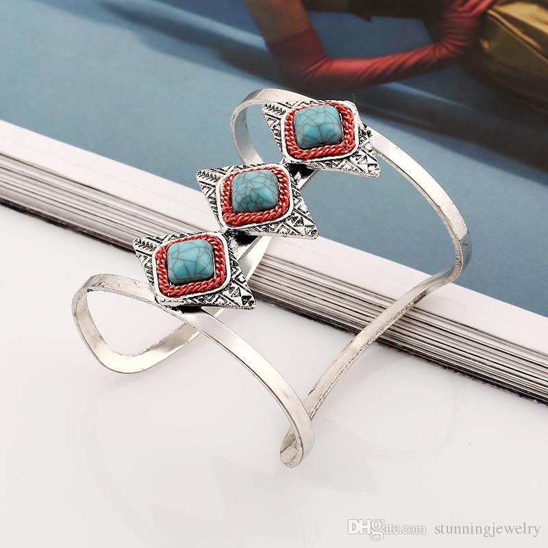Mujeres de imitación de piedras preciosas multicolores brazaletes 2017 moda Vintage Cuff Bangle accesorios chapado en oro pulseras geométricas para mujeres