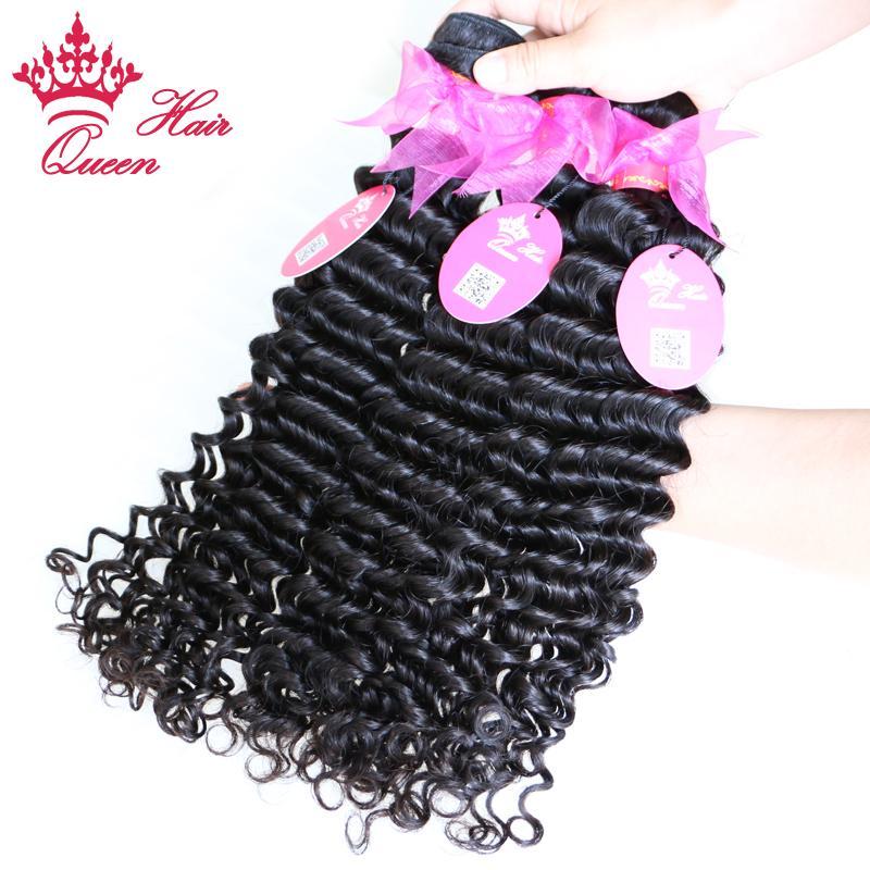 "Queen Hair Products 12-28"" Virgin brazilian hair human hair extensions deep curl weft Natural Color 1B"