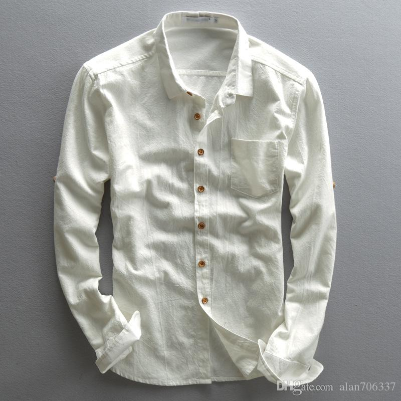 99eca469e3 Men s Long Sleeve Linen Shirts Button-Front Chinese Style Stand Collar  Summer Cotton Shirt Male Clothing Slim Fit Asian Size TS-189