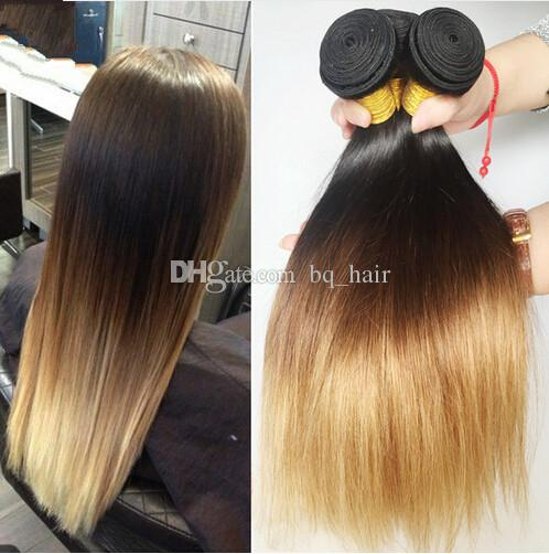 Cheap Brown Blonde Ombre Hair Extensions Three Tone 1b427 Honey