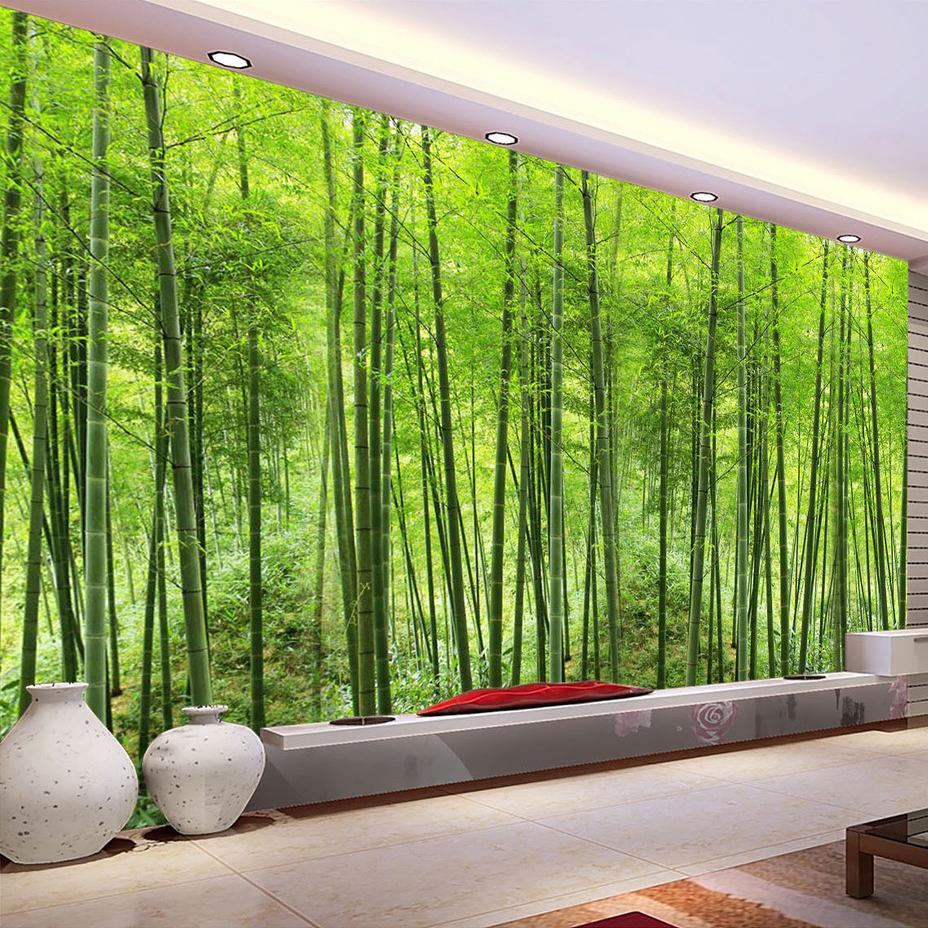 Bamboo forest wall mural home design wholesale custom photo wallpaper bamboo forest wall painting living room tv background art mural home decor amipublicfo Images