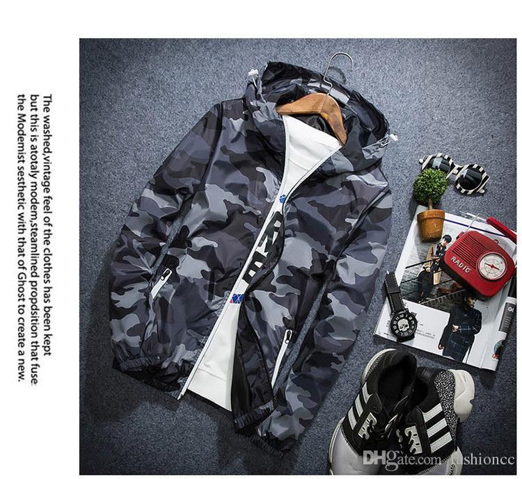 Mens Camo Thin Windbreaker Pullover Jacket Thin Maschio Camouflage Giacca a vento Corea Style Spring Men Hooded Windbreaker