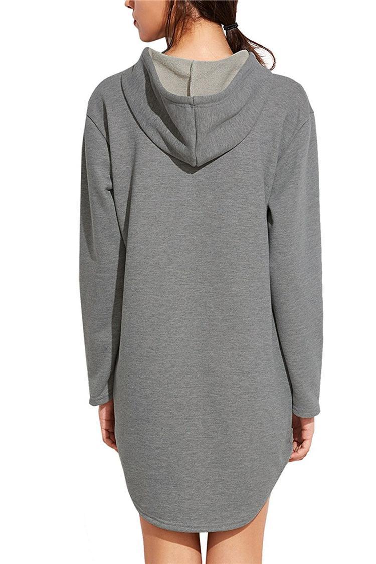 Frauen Frühling Herbst Grau Lange Hoodie Kleid Langarm Taschen Beiläufige Lose Mit Kapuze Sweatshirts Pullover Sudaderas Mujer DHL 171008