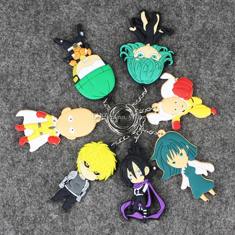 Mix Design ONE PUNCH-MAN keychains figure anime one punch man supper man pvc keyrings sided for bag pendants