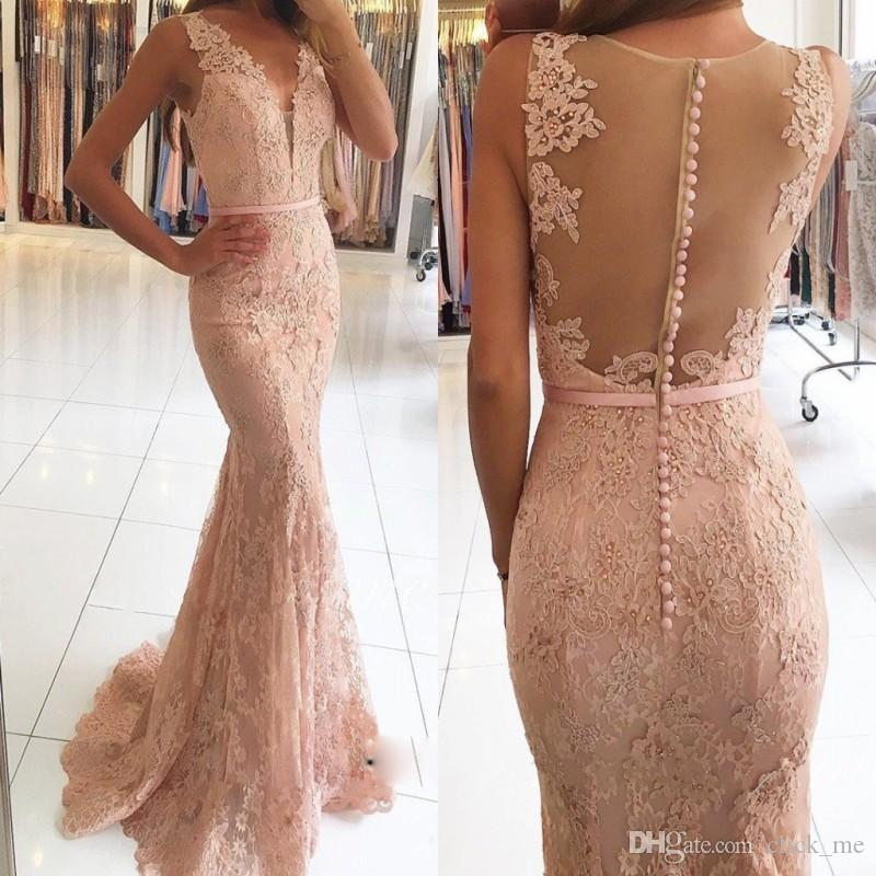 Custom Made Lace Prom Dresses Long Sexy Sheer Back Covered Buttons ...