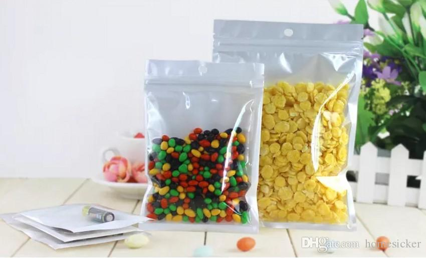 Meilleur Qualité Clear + blanc perle En Plastique Poly OPP emballage fermeture à glissière Fermeture Zip Emballages de détail Emballages Bijoux alimentaire PVC sac en plastique beaucoup de taille disponible