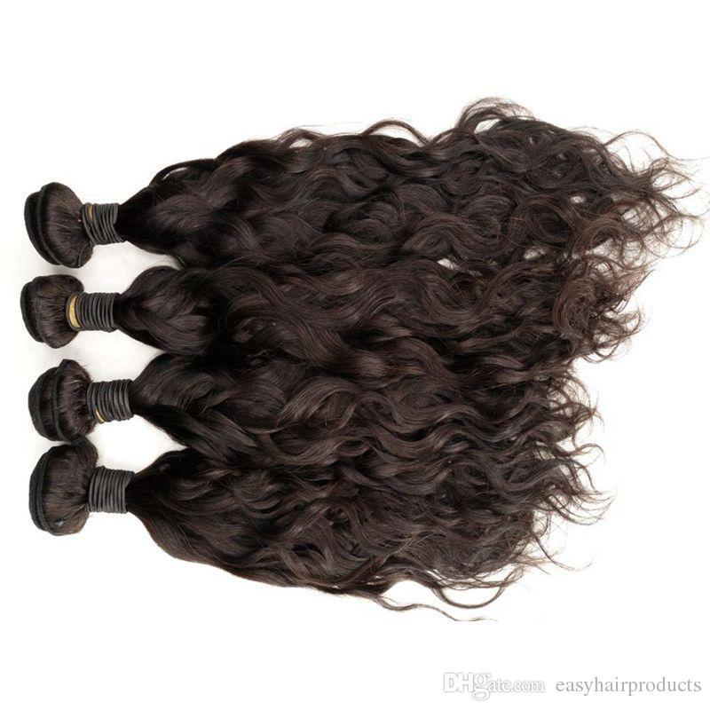 Indian Virgin Hair Water Wave Weave Bundles With Silk Base Lace Frontal Closure Natural Black Shedding Free No Tangle
