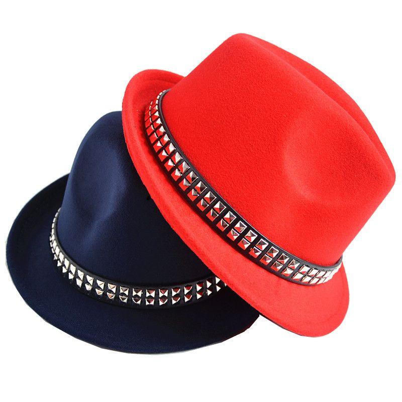 637c4b6d By DHL Rivet Men Women Wool Fedora Hats Soft Dance Party Wedding ...